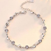 Sterling Silver Platinum Plated Party Wear Bracelets - Pink