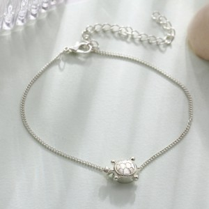 Cute Silver Plated Turtle Pendant Casual Anklet
