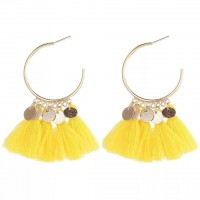 Bohemian Tassel Casual Wear Earrings Set - Yellow