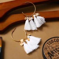 Bohemian Tassel Casual Wear Earrings Set - White