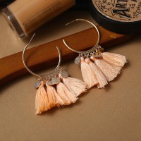 Bohemian Tassel Casual Wear Earrings Set - Apricot