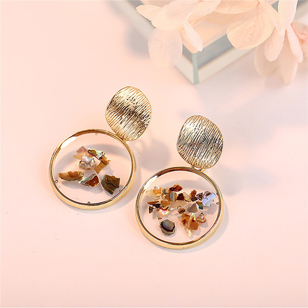 Mesh Gold Plated Party Special Round Shaped Ear Tops
