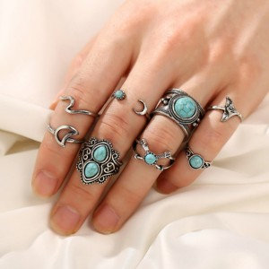 Rhinestone Bohemian Eight Pieces Rings Set