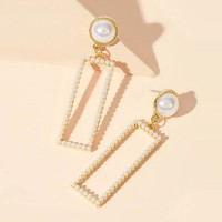 Rectangle Pearl Decorative Fancy Party Earrings