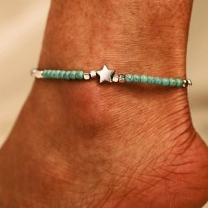 Beads Decorated Star Patch Casual Anklet