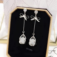 Gold Plated Pearl Ear Beads Decorative Earrings - Silver