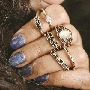 Boho Gold Plated Six Different Rings Set