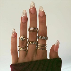 Gold Plated Nine Pieces Crystal Rings Set