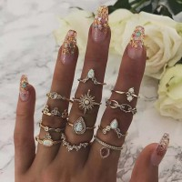 Rhinestone Decorative Gold Plated Twelve Pieces Rings Set