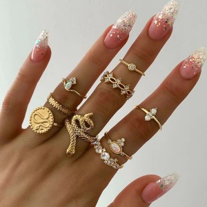 Nine Pieces Gold Plated Women Rings Set