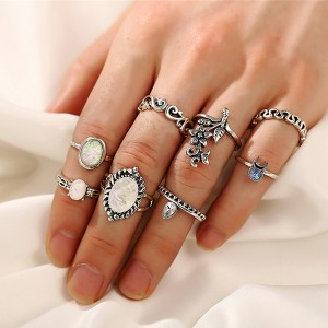 Carved Floral Designed Eight Pieces Rings Set