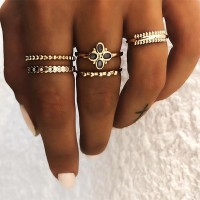 Five Pieces Gold Plated Rings Set
