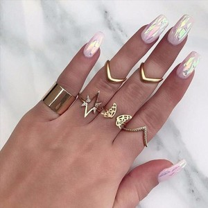 Gold Plated Antique Seven Pieces Rings Set
