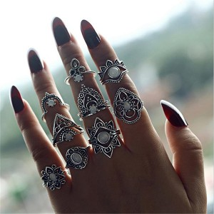Silver Plated Bohemian Women Jewelry Nine Rings Set