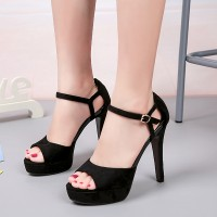 High Heel Buckle Closure Thick Bottom Sandals - Black