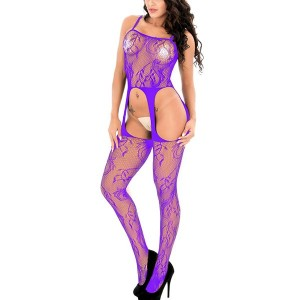 See Through Net Cut Out Body Stocking - Purple
