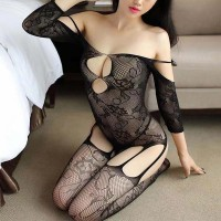 Floral Hollow See Through Body Stocking - Black