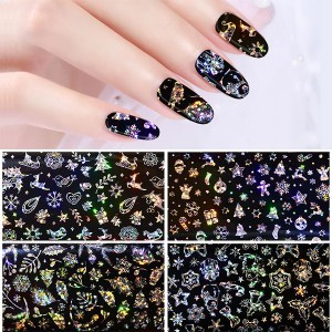 Nail Arts Christmas Starry Beautiful Nail Stickers - Black