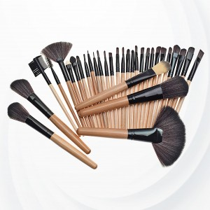 Thirty Two Piece Wooden Handle Luxury Brushes - Brown
