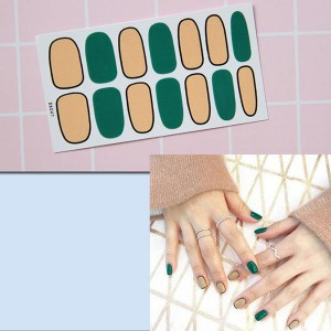 Contrast Duo Colors Fashion Nail Stickers - Green