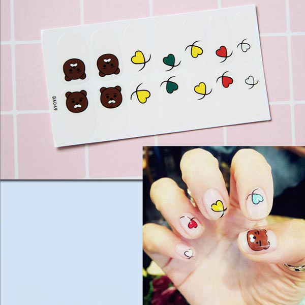 Hearts Shaped Self Adhesive Nail Stickers - Multicolor