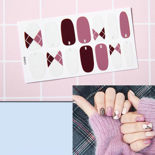 Patchwork Contrast Colorful Self Adhesive Nail Stickers