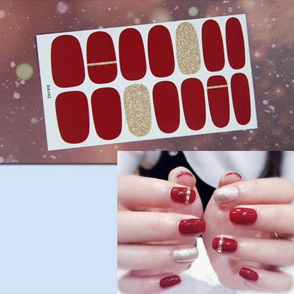 Contrast Glitter Fashion Nail Stickers - Red