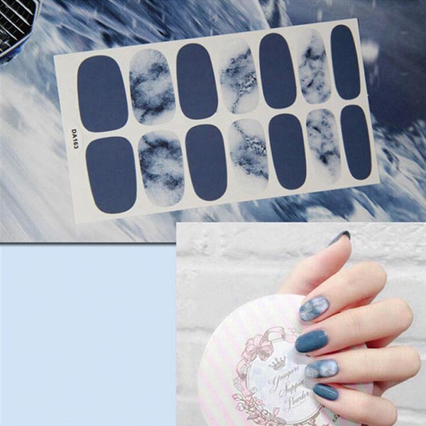 Marble Pattern Contrast Fashion Nail Stickers - Blue