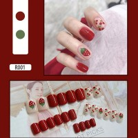 Fruit Prints Contrast Easy Adhesive Nails - Red