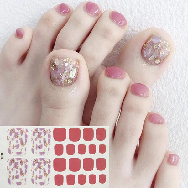 Crushed Contrast Multicolor Shiny Adhesive Nail Stickers