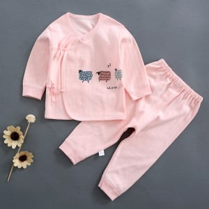 Baby Long Sleeve Cotton Dress Set - Pink