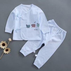 Baby Long Sleeve Cotton dress Set - Sky Blue