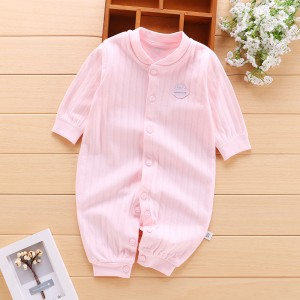 Baby Long Sleeve Cotton Romper - Pink