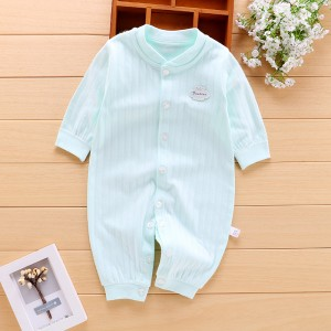Baby Long Sleeve Cotton Romper - Light Green