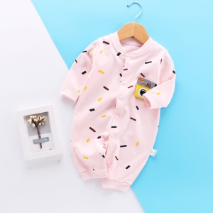 kids Long Sleeve Cotton Romper - Pink