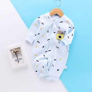 Kids Long Sleeve Cotton Romper - Sky Blue