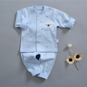 kids Long Sleeve Cotton Pajama Set - Sky Blue