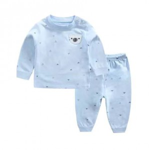 Child Cotton Long Sleeve Pajama Suit - Sky Blue