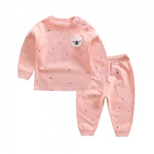 Child Cotton Long Sleeve Pajama Suit - Pink