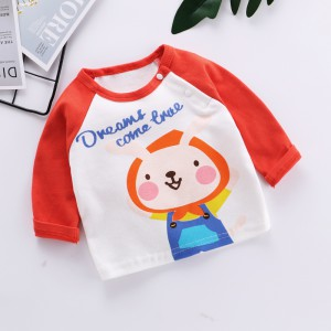 Kids Long Sleeve Cotton T-shirt - Orange