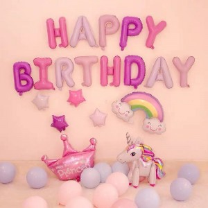 28 Pcs Birthday Party Foil Balloons Set - Multi Color