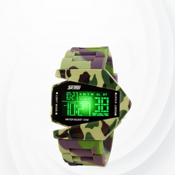 Creative Design Water Resistant Led Sports Watch-multi Color