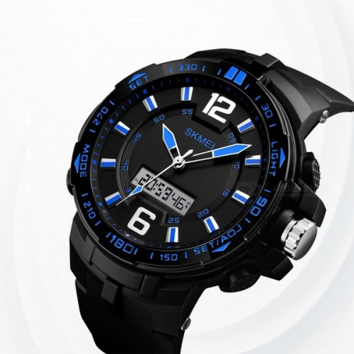 Big Dial Dual Time Display Sport Digital Watch - Blue