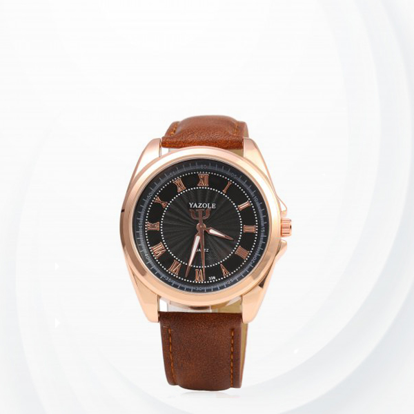 Leather Strapped New Design Wrist Watch -Black