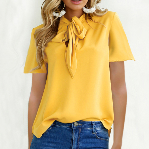 Bow Neck Speaker Sleeved Casual Top - Yellow