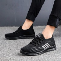 High Quality Mesh Breathable Casual Sneakers - White Stripes