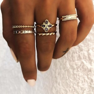 Bohemian Gold Plated Five Pieces Rings Set