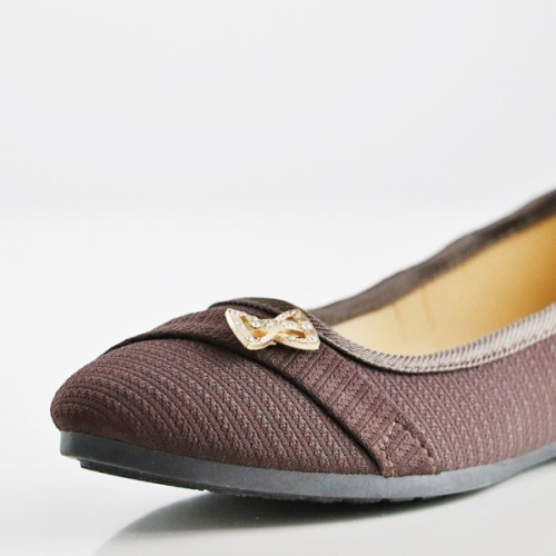 Bow Crystal Canvas Flat Party Wear Shoes - Brown