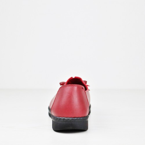 Bow Art Patch Flat Formal Wear Office Shoes - Burgundy