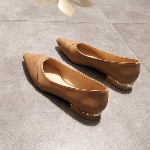 Flat Pointed Shallow Mouth Rubber  Shoes - Khaki